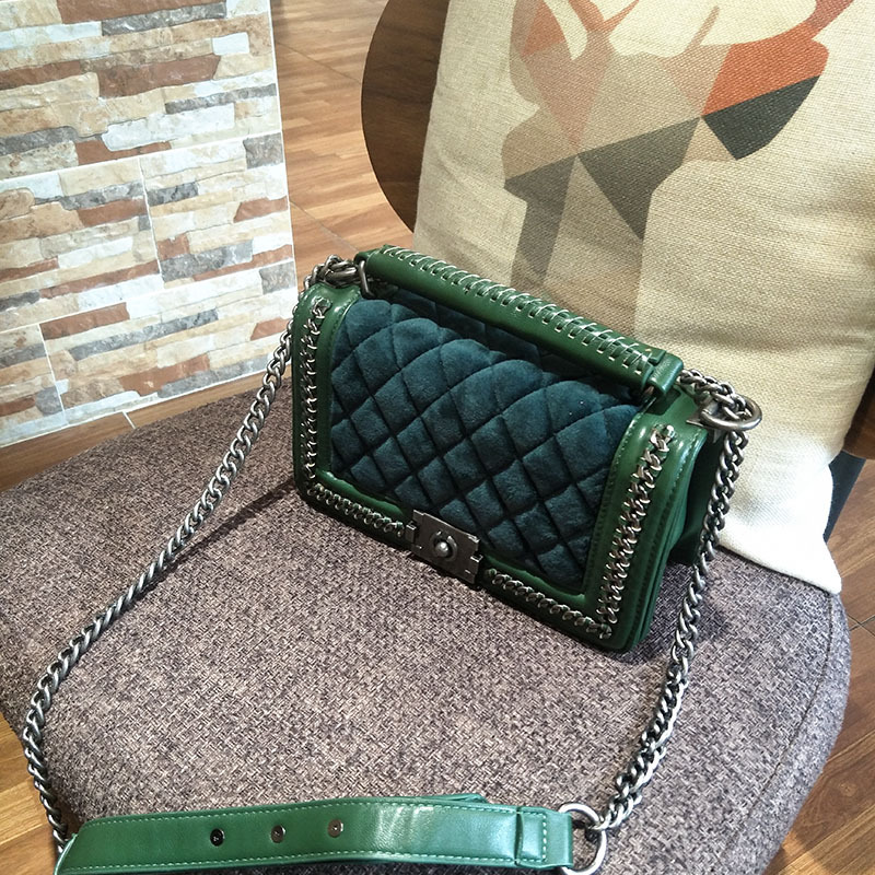 New retro velvet small cover flap pocket bag quilted women shoulder bag designer clutch chain messenger bags famous brands dark green velvet twistlock closure quilted chain bag