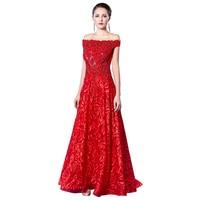 Diamonds Embroidery Slash neck 2018 Women's elegant long gown party proms for gratuating date ceremony gala evenings dresses A75