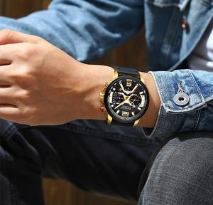 Image 4 - CURREN Mens שעונים למעלה מותג יוקרה עור ספורט שעון גברים אופנה הכרונוגרף קוורץ גבר שעון עמיד למים Relogio Masculino