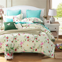100 Cotton Blue Plum Flower Duvet Cover Set King Twin Queen Size Wedding Bed Set Include
