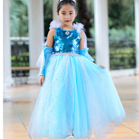 Princess Costume Dress Elsa without Gloves Snow Queen Rapunzel Dress for Girls Festive Party Girl Ball Gown Party Christmas G035