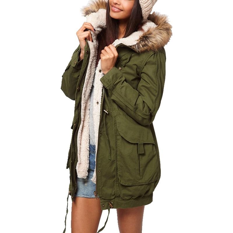 New Winter Women Jacket Medium long Thicken Plus Size XXL Outwear Faux Fur Hooded Wadded Coat Slim Parka Cotton padded Overcoat