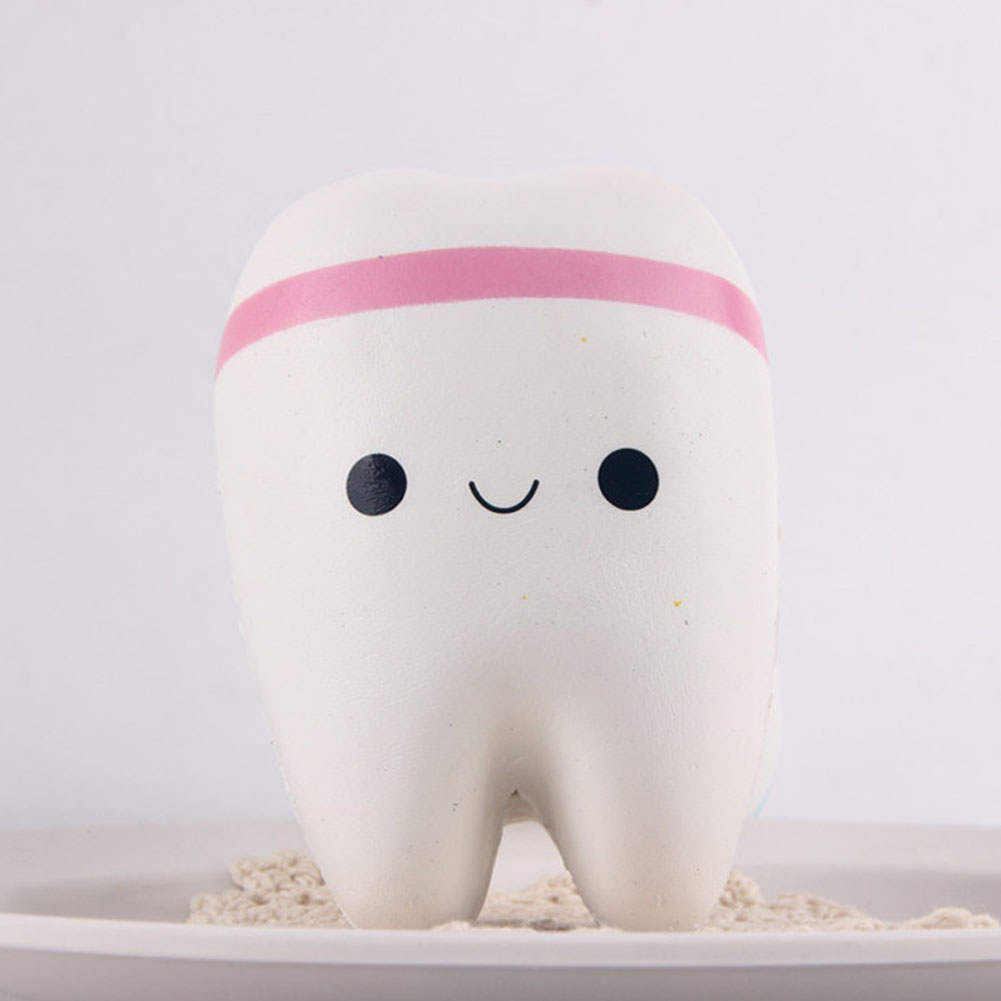 New 11cm Tooth Jumbo Slow Rising Phone Straps Cartoon Teeth Bread for Phone/Mp3/Bag Charm Strap Toy