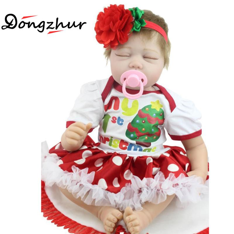 Dongzhur Big Flower Wave Point Red White Npkdoll Christmas Gift Simulation Baby Rebron Doll Holiday Creative Sleepping Doll 55cm disney princess brass key 2003 holiday collection porcelain doll snow white