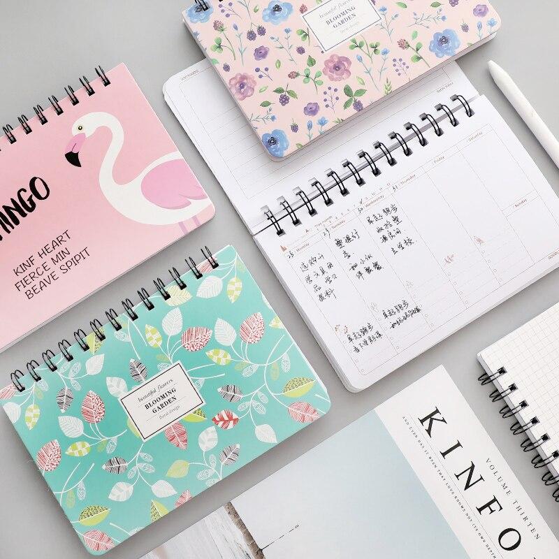 1pc Flamingo Illustratiereeks Weekplan Notitieboekje Notitieboekje - Notitieblokken en schrijfblokken bedrukken
