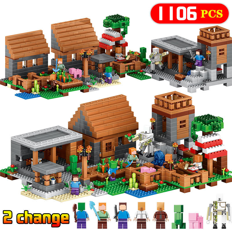 Upgrade My World Series Building Block Compatible Legoinglys Minecrafted My Village Bricks Zombie Figures DIY Enlighten Toys free shipping wall element 1x6x5 abs diy enlighten block bricks compatible with lego assembles particles