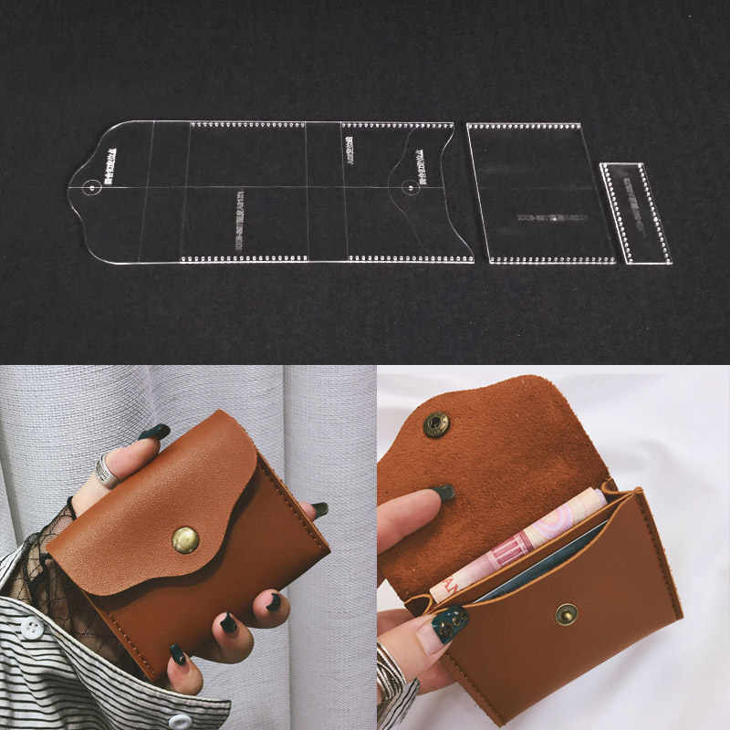 Deri Tasarım Şablonu Akrilik Deri Zanaat Desen Aracı Temizle Stencil DIY El cüzdan çanta Çanta Yapma Malzemeleri