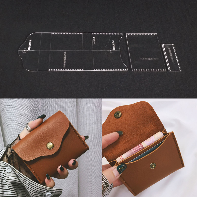 Leather Design Template Acrylic Leather Craft Pattern Tool Clear Stencil for DIY Hand Wallet Bag Handbag Making Supplies