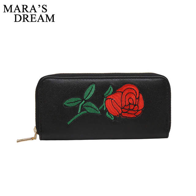 a035286b7bf Online Shop Mara s Dream PU Leather Embroidery Rose Women Long Wallets  Phone Clutch Ladies Purses Black Purse Coin Card Clutch Bag Money Bag