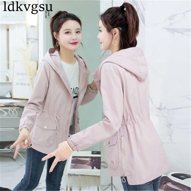 Casual 2018 Spring Autumn Jackets Coats Women Hooded Drawstring Windbreaker Outerwear Female Tops A716