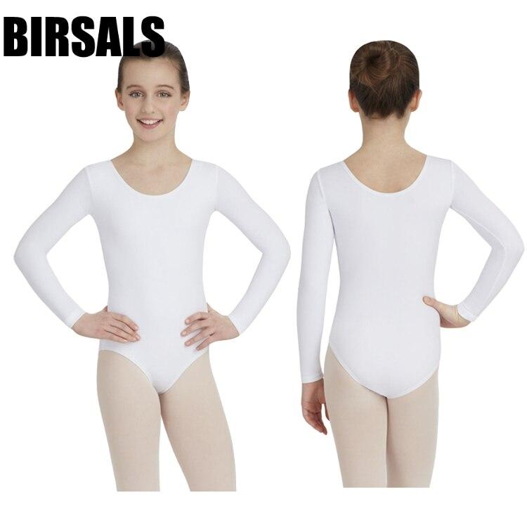 Long Sleeve Spandex White Ballet Leotards For Women Ballet Dancewear Adult Dance Practice Clothes Gymnastics LeotardsCS0101