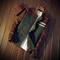 Brand Green Casual Teens Jacket Green Jacket Men Turn Down Collar Long Sleeve Tactical Bomber Military