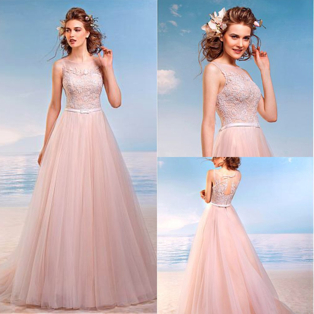 Pink Tulle Wedding Gown: Elegant Tulle Bateau Neckline A Line Wedding Dresses With