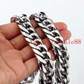 High Quality 13mm Wide Silver Tone Stainless Steel Cuban Curb Link Chain Bracelet Or Necklace Biker Mens Fashion Jewelry 7-40""