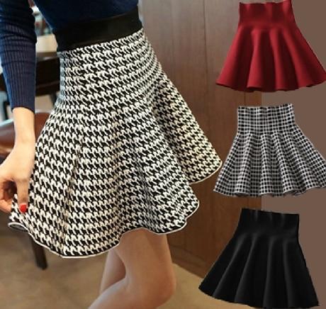 ANASUNMOON Short Skirt Pleated Winter Autumn Women European And Lady A-Line Bust American-Style