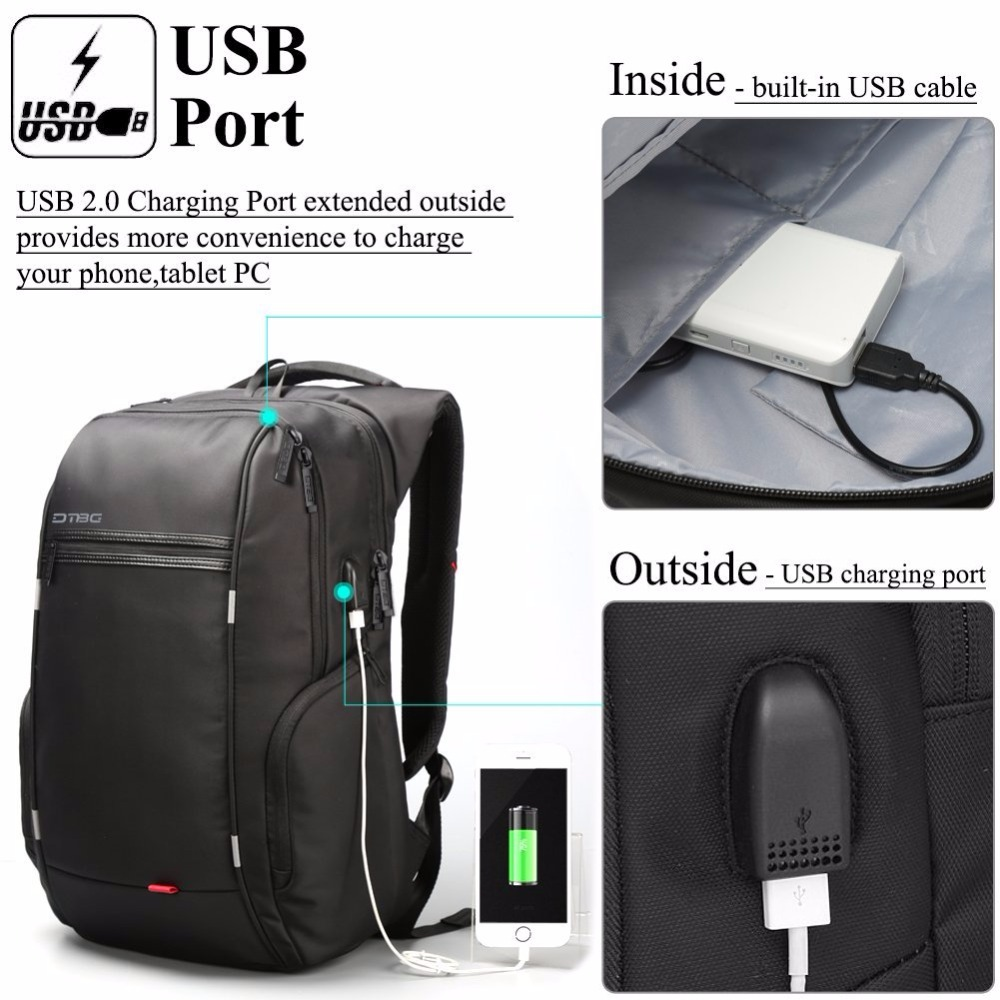 2018 DTBG Backpack Mouchilas Laptop Backpacks Smart Business Travel School Rucksack Anti-theft Computer USB Charge Port Kanpscak ...