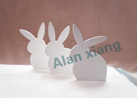 free shipping  Wooden bunny set of 3 Ester spring home decor white rabbit bunnies