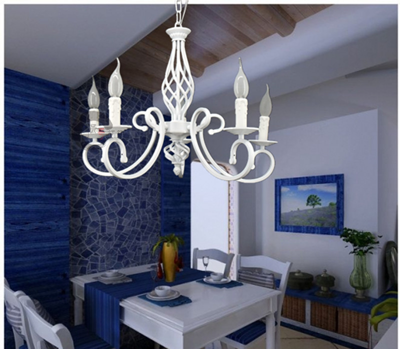 Aliexpress Buy Mediterranean White Wrought Iron Candle Chandelier Minimalist Bedroom Living Room Dining Lighting IKEA Creative Kids From Reliable