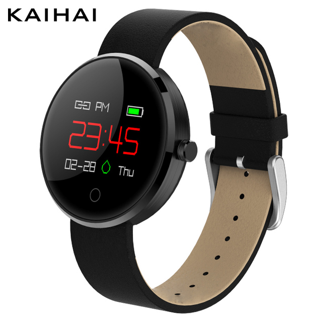 Kaihai h12 Новый Smart фитнес-браслет цветной экран кожаный браслет артериального давления монитор сердечного ритма часы Reloj inteligente