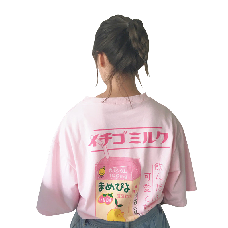 Lovely Cartoon Milk Box Loose T-shirt Women's T-shirts Japan Harajuku Ladies Vintage Female Korean Kawaii Tunic For Women