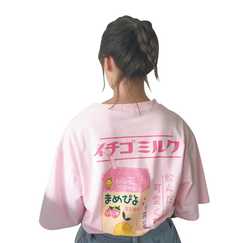 Schöne Cartoon Milch Box Lose T-shirt frauen T-shirts Japan Harajuku Damen Vintage Weiblichen Koreanischen Kawaii Tunika Für Frauen