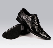 QYFCIOUFU Fashion Crocodile Pattern Men Dress Shoes Genuine Leather High Quality Cow Leather Pointy Black Wine Red Oxford Shoes