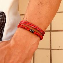 2 pcs/Set Natural Stone Beads Paracord Bracelet Handmade Men