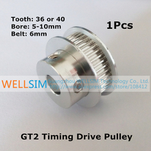 1Pcs 2GT GT2 Timing Drive Pulley 36 40 Tooth Teeth Bore 5mm 6.35mm 8mm 10mm for width 6mm Belt Best Quality For 3D Printer