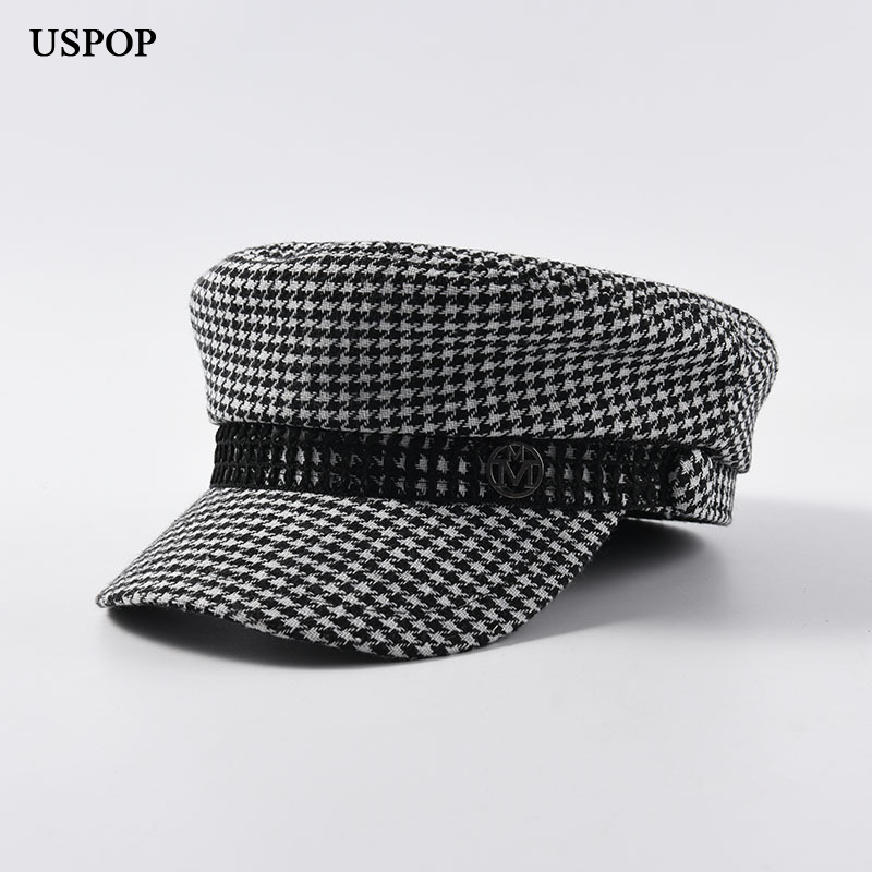 USPOP 2019 Autumn Winter Caps Women Vintage Plaid Newsboy Caps Fashion Metal Letter M Military Caps Flat Top Plaid Visor Caps