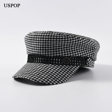 USPOP 2019 Autumn winter caps women vintage plaid newsboy fashion metal letter M military flat top visor