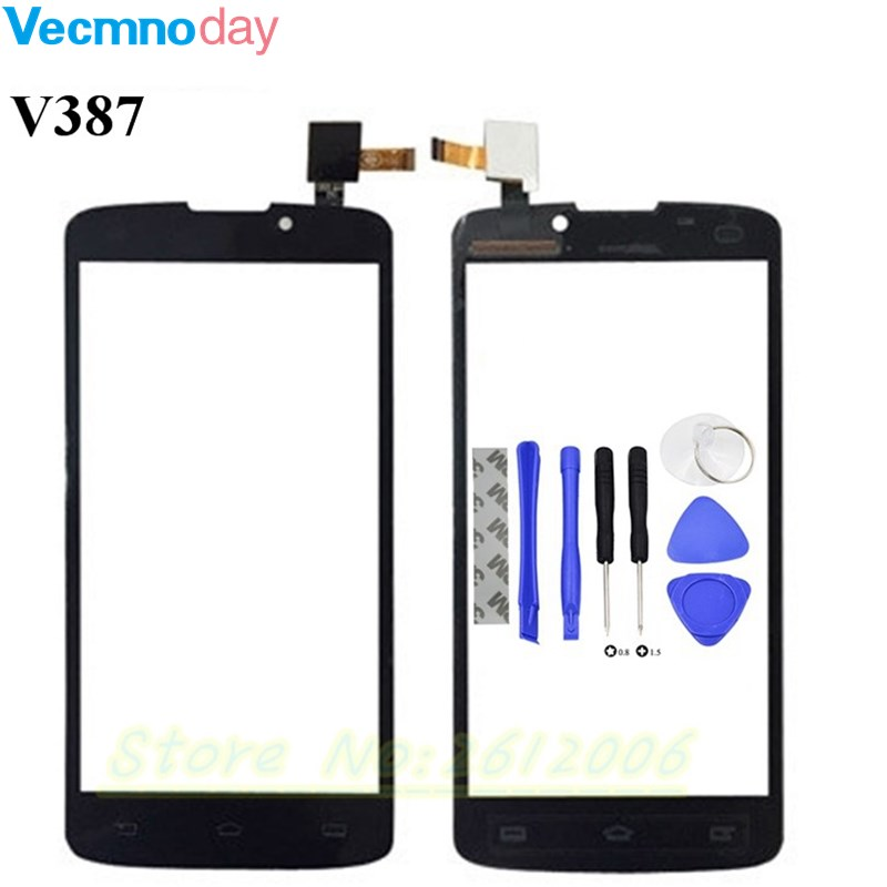 Vecmnoday Touch Panel Sensor For Philips V387 Touch Screen Digitizer Front Glass Lens Sensor Touchscreen + tools