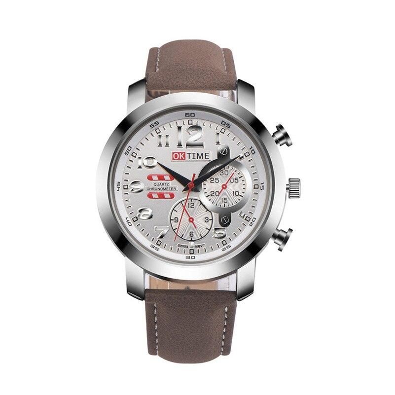 OKTIME i0 men watch gift boy brand luxury Retro Design Leather Band Analog Alloy Quartz Wrist