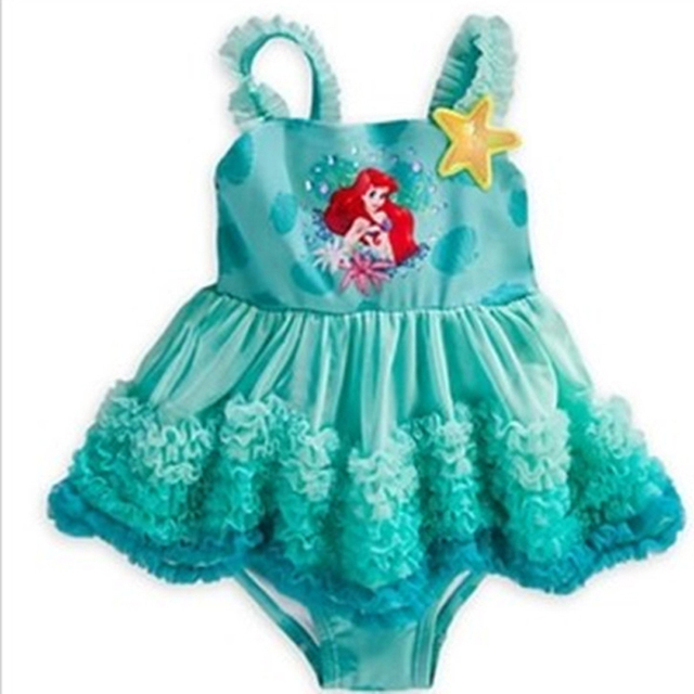 retail Girls Swimwear Mermaid Princess  One Pieces Swimsuit Kids Ruffled Swimming Suit For Girl Children Bathing Suit