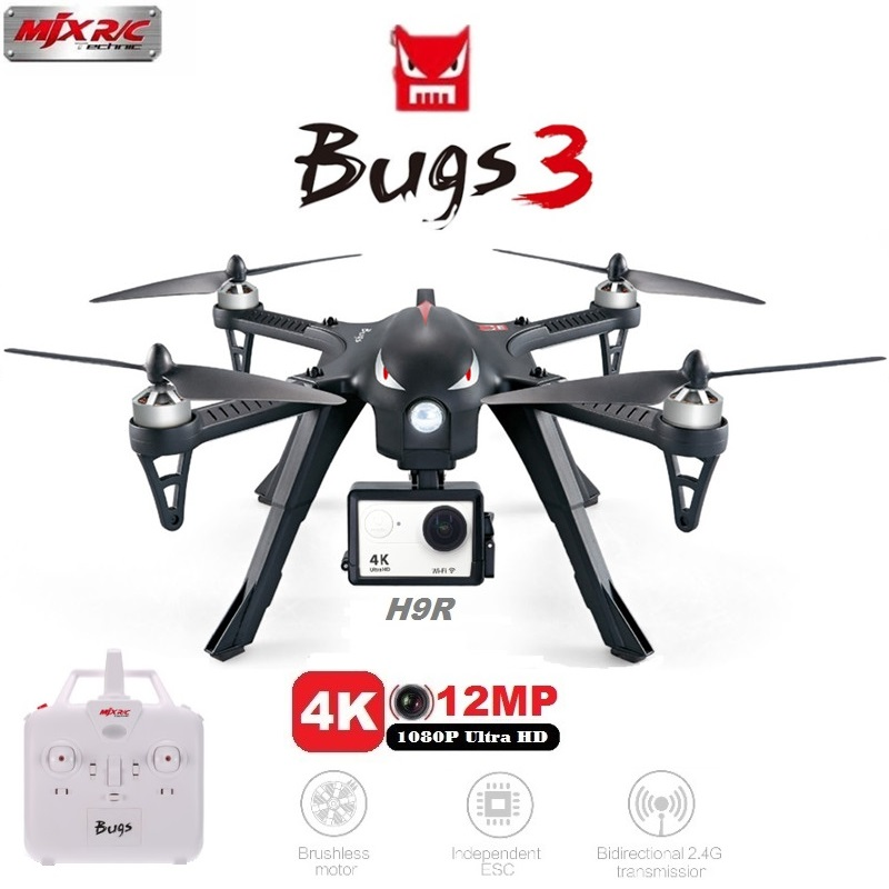 MJX Bugs 3 B3 RC Quadcopter Brushless Motor 2.4G 6-Axis Gyro Drone With H9R 4K Camera Professional Dron Helicopter mjx c4020 720p wifi camera rc drone hd camera for mjx bugs 3 b3 bugs 6 b6 rc helicopter quadcopter camera spare parts