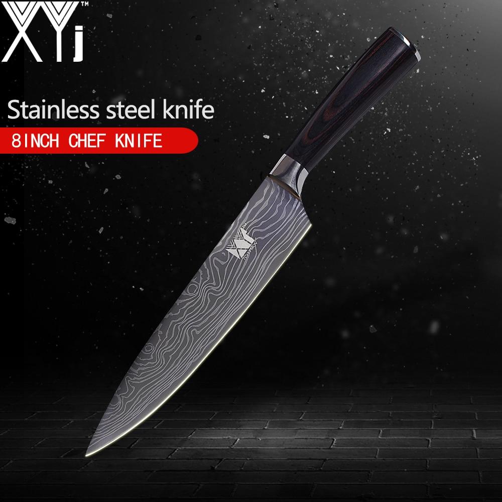 XYj juego único cuchillo de cocina de alto carbono 7Cr17 cuchillo de acero inoxidable Damasco venas patrón herramientas de la cocina 3,5 5 5 7 8 8 pulgadas