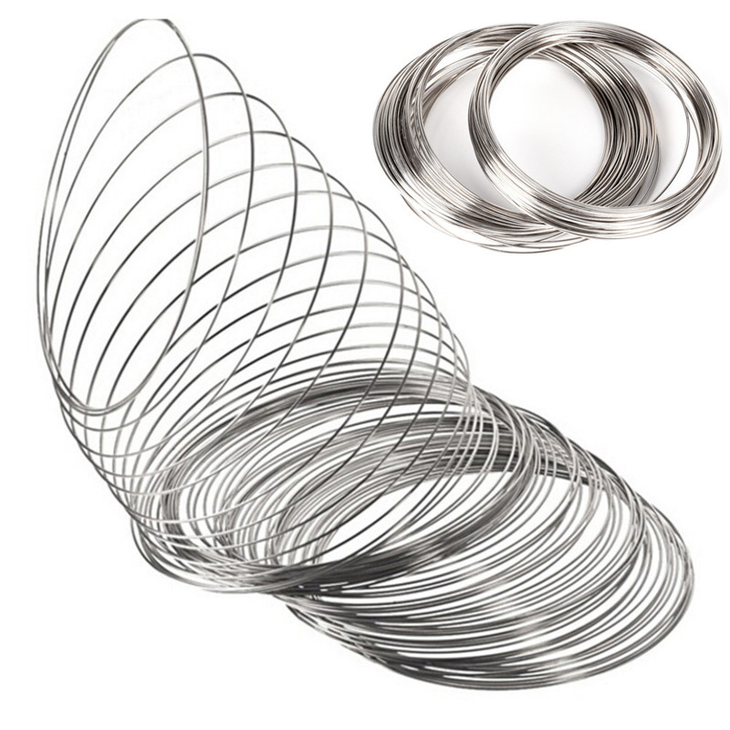 High Quality Wire 55mm 60mm Dia. 100 Loops Silver Tone