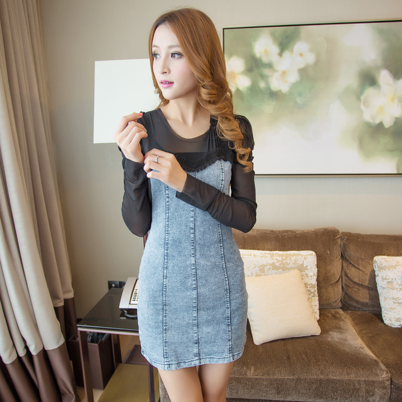 1501 2013 summer slim tight gauze patchwork denim skirt slim hip ...