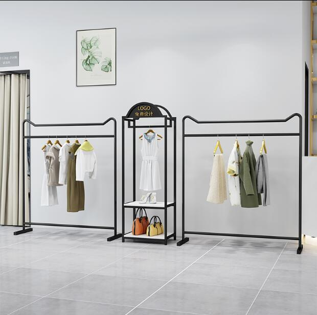Showcase rack of high end clothing store Simple gold dress shop iron rack floor hanging clothes rack in Storage Holders Racks from Home Garden