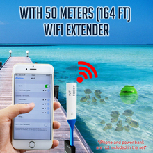 FF-916_EXT LUCKY Wireless WIFI Fish Finder 45M Depth Range Rechargeable Battery Fish Detect Android iOS with Wifi Extender