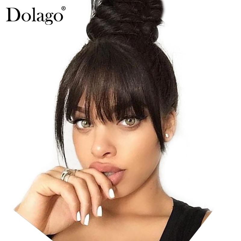 Brazilian Human Hair Blunt Bangs Clip In Human Hair Extension Natural Black Dolago 100% Virgin Hair Products invisible bra