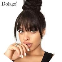 Brazilian Human Hair Blunt Bangs Clip In Human Hair Extension Natural Black Dolago 100% Virgin Hair Products