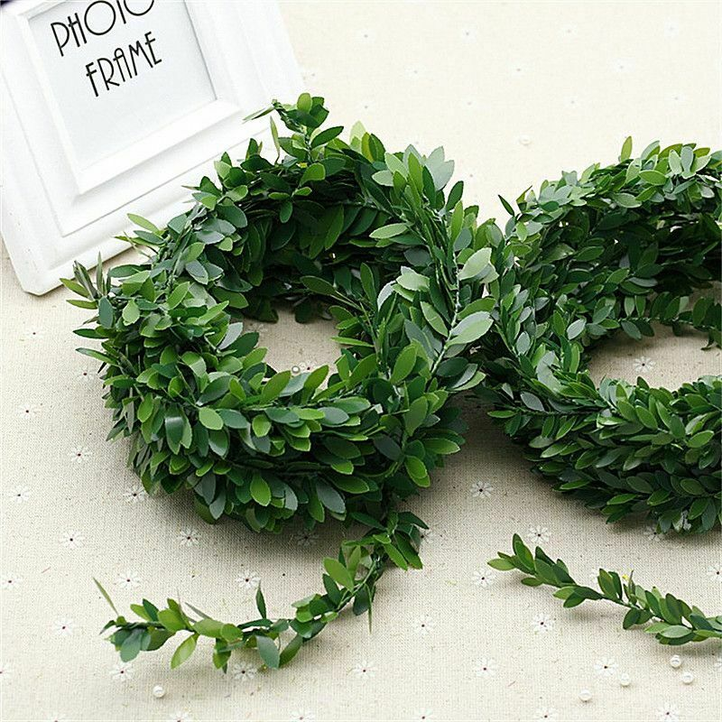 Artificial Ivy Garland Foliage Green Blue Leaves Fake Vine Headband Artificial Leaf Vine Fake Hanging Plan  7.5M Boxwood Wreath