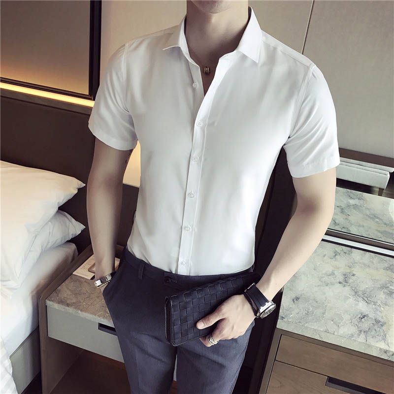 Envmenst 2017 Summer Fashion Short Sleeve Shirt Men High Quality Solid Color Shirt Slim Fit Cotton Casual Social Shirt 39~43