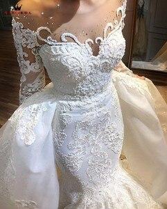 Image 2 - להסרה חצאית בת ים ארוך שרוול טול תחרה חרוזים קריסטל יוקרה סקסי חתונת שמלת כלה שמלה מותאם אישית גודל SC01M