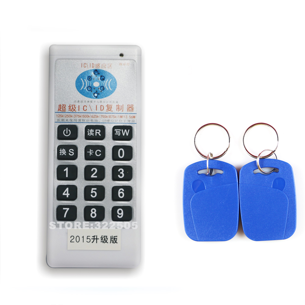 Handheld 125KHz&13.56MHZ RFID Copier Writer Duplicator Programmer Reader +10 Pcs double frequency Rewritable ID Keyfobs Tags handheld 125khz rfid id card duplicator programmer reader writer copier duplicator 6 pcs cards 6 pcstags kit