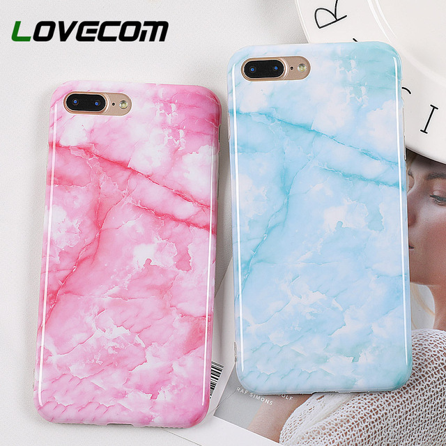 brand new fd56f 703cf US $1.69 20% OFF|LOVECOM Phone Case For iPhone 6 6S 7 8 Plus X XS XR XS Max  Hot Classical Pink & Blue Marble Soft IMD Phone Back Cover Cases Gift-in ...