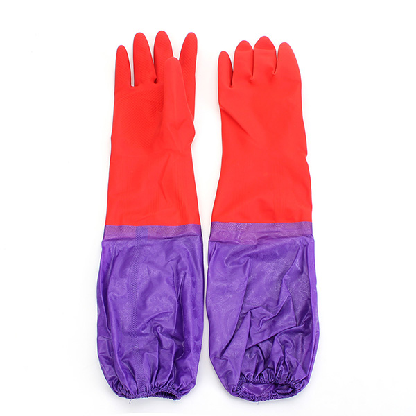 NEW Kitchen Wash Cleaning Rubber Latex Cashmere Gloves Waterproof Long Sleeves Workplace Safety
