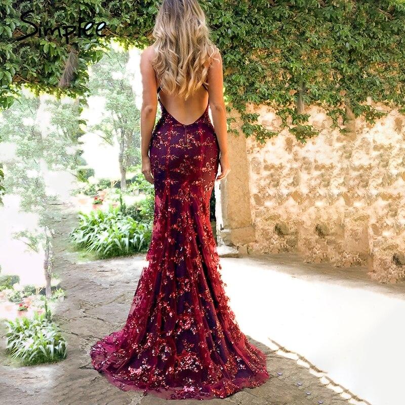 100% QualitäT Simplee Strap Mesh Pailletten Maxi Kleid Elegante Backless Lace Up Lange Party Kleid Robe Femme 2018 Herbst Winter Damen Sexy Kleid