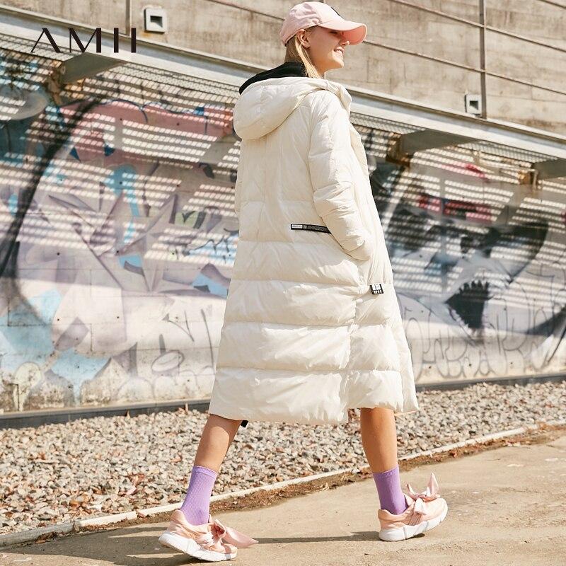 Amii Causal Femmes D'hiver Duvet de Canard Manteau 2018 Chaud Solide Épais Patch Conceptions Lettres À Capuche Streetwear Femelle Vers Le Bas Vestes