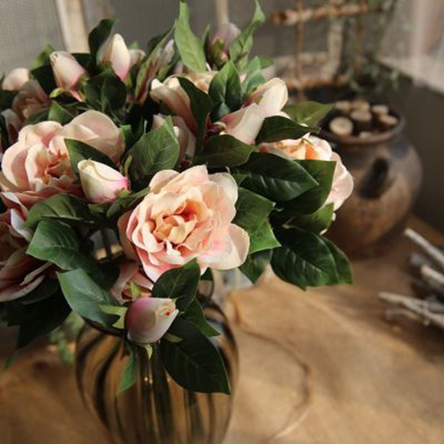1 Bouquet 5pcs Vintage Gardenia Magnolia Artificial Flower Silk
